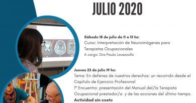 Novedades de la Asociación Argentina de Terapia Ocupacional- JULIO 2020